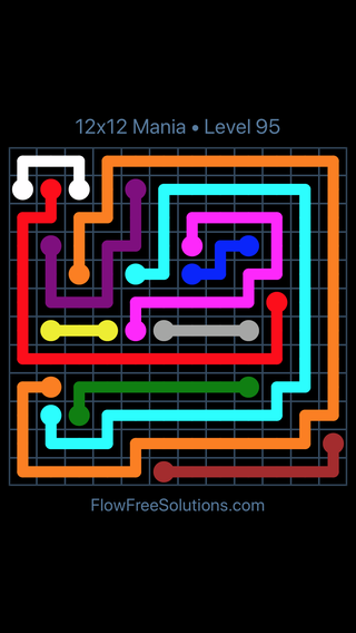 Solution and Answer to the Puzzle for Flow Free 12x12 Mania Level 95