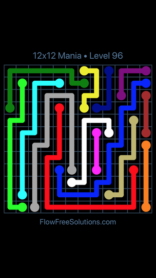 Solution and Answer to the Puzzle for Flow Free 12x12 Mania Level 96