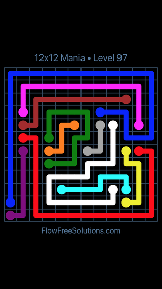 Solution and Answer to the Puzzle for Flow Free 12x12 Mania Level 97