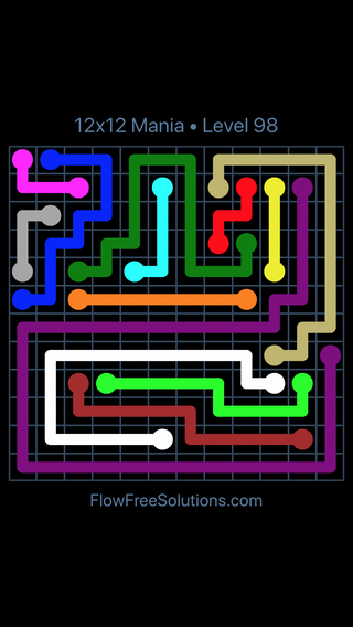 Solution and Answer to the Puzzle for Flow Free 12x12 Mania Level 98