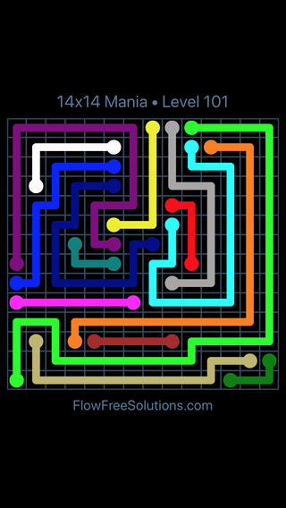 Solution and Answer to the Puzzle for Flow Free 14x14 Mania Level 101