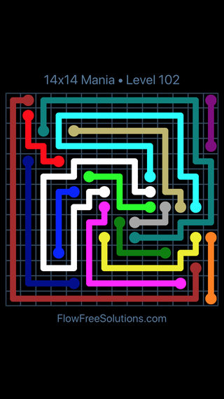 Solution and Answer to the Puzzle for Flow Free 14x14 Mania Level 102