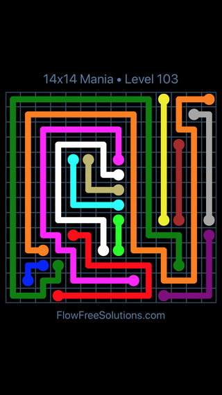 Solution and Answer to the Puzzle for Flow Free 14x14 Mania Level 103