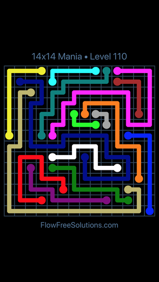 Solution and Answer to the Puzzle for Flow Free 14x14 Mania Level 110
