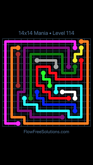 Solution and Answer to the Puzzle for Flow Free 14x14 Mania Level 114