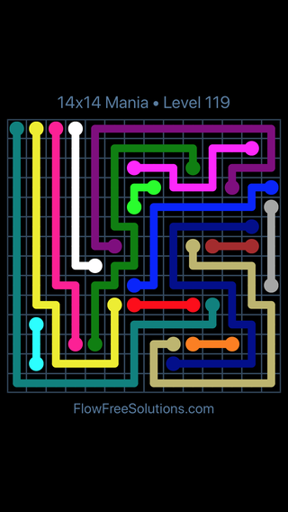Solution and Answer to the Puzzle for Flow Free 14x14 Mania Level 119