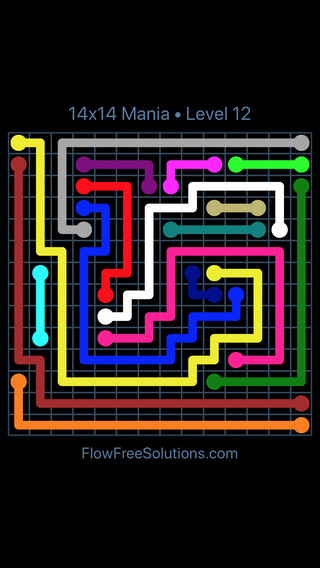 Solution and Answer to the Puzzle for Flow Free 14x14 Mania Level 12
