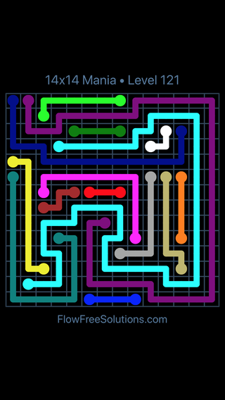 Solution and Answer to the Puzzle for Flow Free 14x14 Mania Level 121