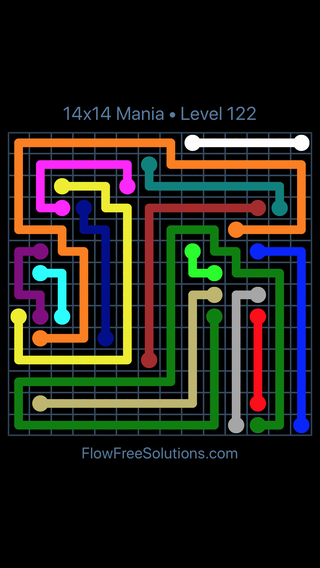 Solution and Answer to the Puzzle for Flow Free 14x14 Mania Level 122