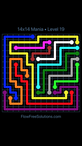 Solution and Answer to the Puzzle for Flow Free 14x14 Mania Level 19