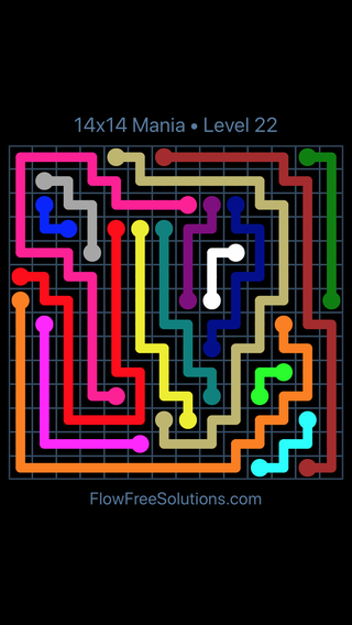 Solution and Answer to the Puzzle for Flow Free 14x14 Mania Level 22