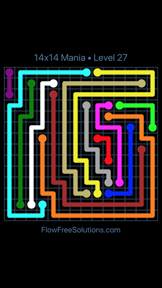 Solution and Answer to the Puzzle for Flow Free 14x14 Mania Level 27