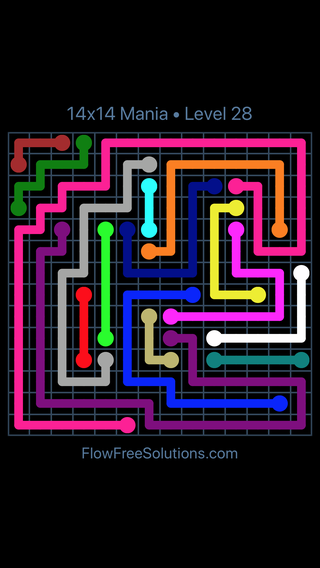 Solution and Answer to the Puzzle for Flow Free 14x14 Mania Level 28