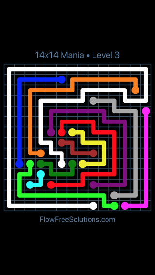 Solution and Answer to the Puzzle for Flow Free 14x14 Mania Level 3
