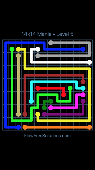 Solution and Answer to the Puzzle for Flow Free 14x14 Mania Level 5