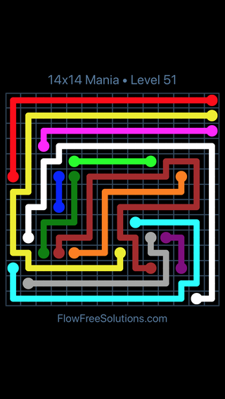 Solution and Answer to the Puzzle for Flow Free 14x14 Mania Level 51