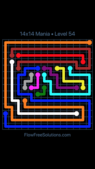 Solution and Answer to the Puzzle for Flow Free 14x14 Mania Level 54