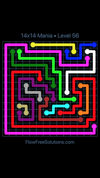 Solution and Answer to the Puzzle for Flow Free 14x14 Mania Level 56