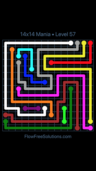 Solution and Answer to the Puzzle for Flow Free 14x14 Mania Level 57