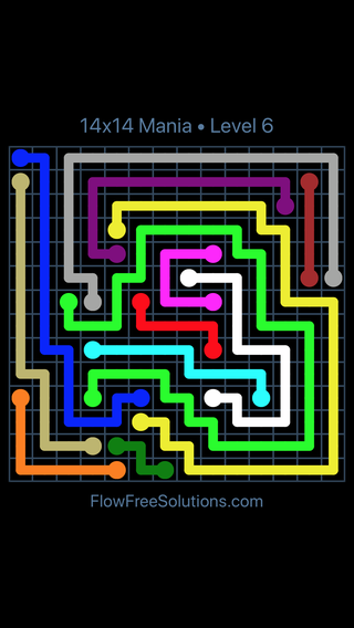 Solution and Answer to the Puzzle for Flow Free 14x14 Mania Level 6