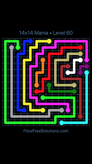 Solution and Answer to the Puzzle for Flow Free 14x14 Mania Level 60