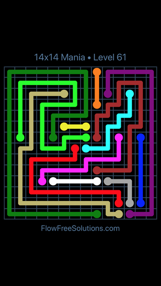 Solution and Answer to the Puzzle for Flow Free 14x14 Mania Level 61