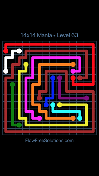 Solution and Answer to the Puzzle for Flow Free 14x14 Mania Level 63