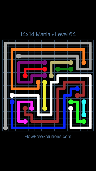 Solution and Answer to the Puzzle for Flow Free 14x14 Mania Level 64