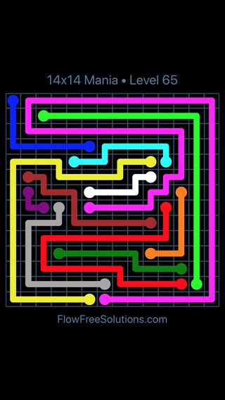 Solution and Answer to the Puzzle for Flow Free 14x14 Mania Level 65