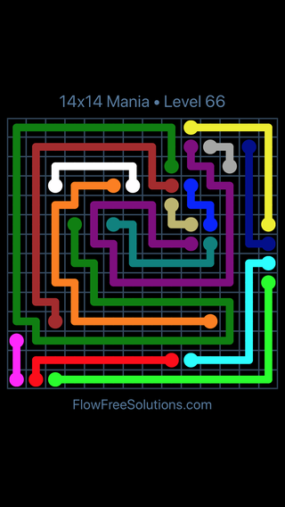 Solution and Answer to the Puzzle for Flow Free 14x14 Mania Level 66