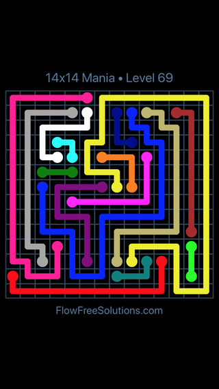 Solution and Answer to the Puzzle for Flow Free 14x14 Mania Level 69