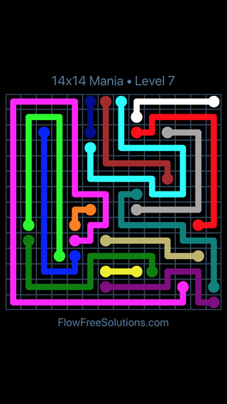 Solution and Answer to the Puzzle for Flow Free 14x14 Mania Level 7