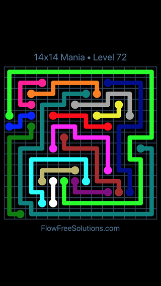 Solution and Answer to the Puzzle for Flow Free 14x14 Mania Level 72
