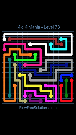 Solution and Answer to the Puzzle for Flow Free 14x14 Mania Level 73