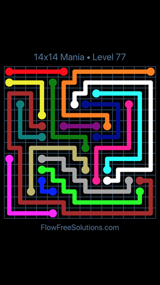 Solution and Answer to the Puzzle for Flow Free 14x14 Mania Level 77