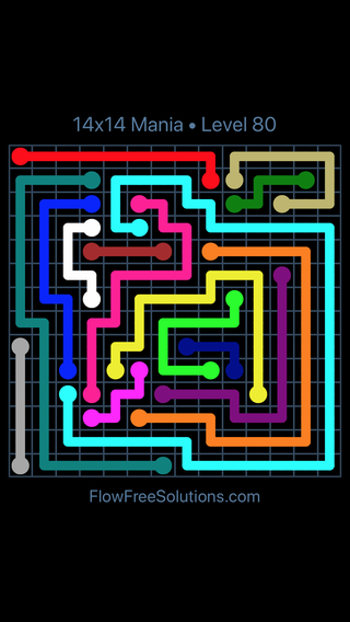 Solution and Answer to the Puzzle for Flow Free 14x14 Mania Level 80