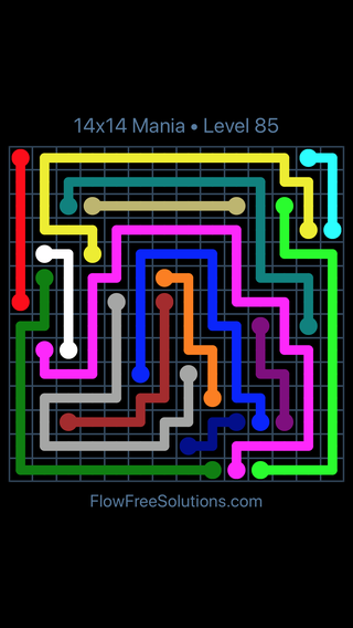 Solution and Answer to the Puzzle for Flow Free 14x14 Mania Level 85