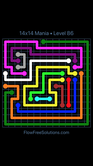 Solution and Answer to the Puzzle for Flow Free 14x14 Mania Level 86