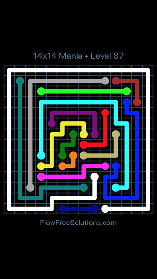 Solution and Answer to the Puzzle for Flow Free 14x14 Mania Level 87