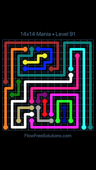 Solution and Answer to the Puzzle for Flow Free 14x14 Mania Level 91