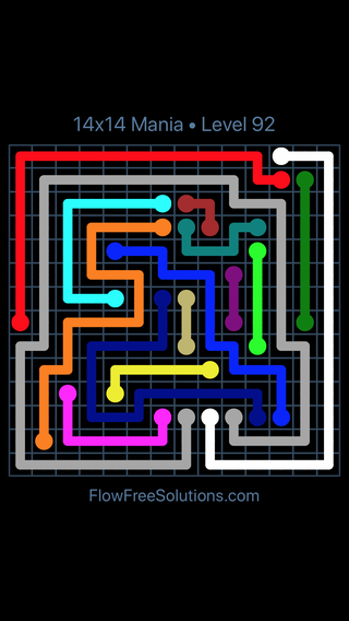 Solution and Answer to the Puzzle for Flow Free 14x14 Mania Level 92