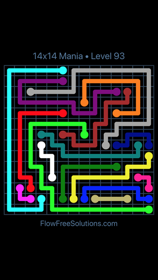 Solution and Answer to the Puzzle for Flow Free 14x14 Mania Level 93