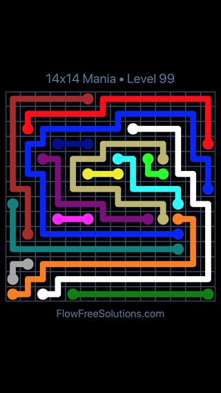 Solution and Answer to the Puzzle for Flow Free 14x14 Mania Level 99