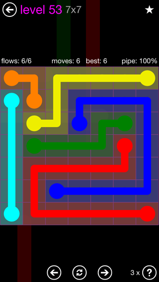 Solution and Answer to the Puzzle for Flow 7mania Pack Set 7x7 Level 53