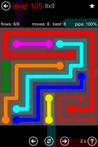 Solution and Answer to the Puzzle for Flow 9mania Pack Set 9x9 Level 105