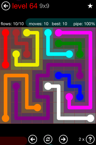 Solution and Answer to the Puzzle for Flow 9mania Pack Set 9x9 Level 64
