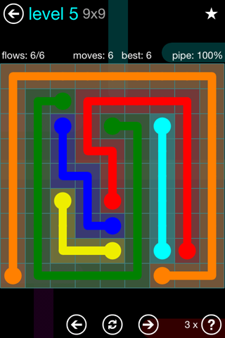 Solution and Answer to the Puzzle for Flow Blue Pack Set 9x9 Level 5