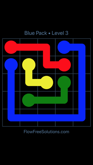 Solution and Answer to the Puzzle for Flow Free Blue Pack Level 3