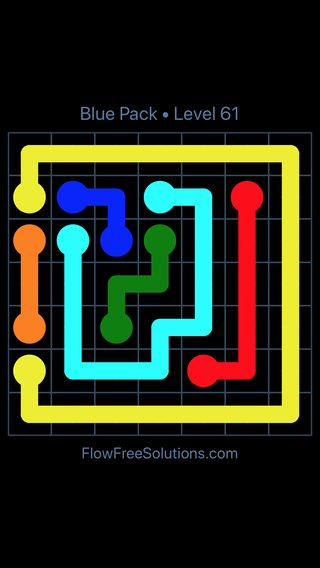 Solution and Answer to the Puzzle for Flow Free Blue Pack Level 1