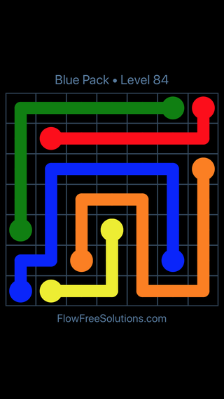 Solution and Answer to the Puzzle for Flow Free Blue Pack Level 24